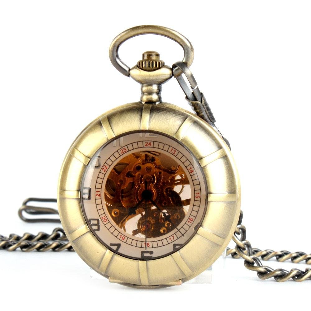 | ALIENWOLF Mens Antique Mechanical Pocket Watch with Chain and Case F022