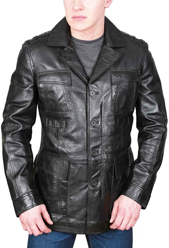Koza Leathers Mens Leather Blazer Real Lambskin Four Button Coat Jacket KB119