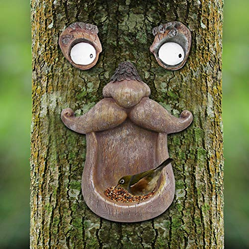 Juegoal Bird Feeder Tree Face Decor Outdoor, Fun Old Man Tree Sculpture Yard Art Garden Decoration