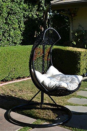 Egg Shape Wicker Rattan Swing Bed Chair Weaved Hanging Ha...