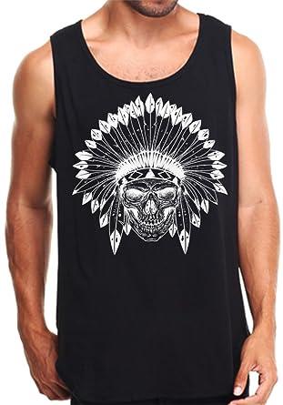 6882e666bb826 Amazon.com  CaliDesign Men s Indian Skull Tank Top Black White ...