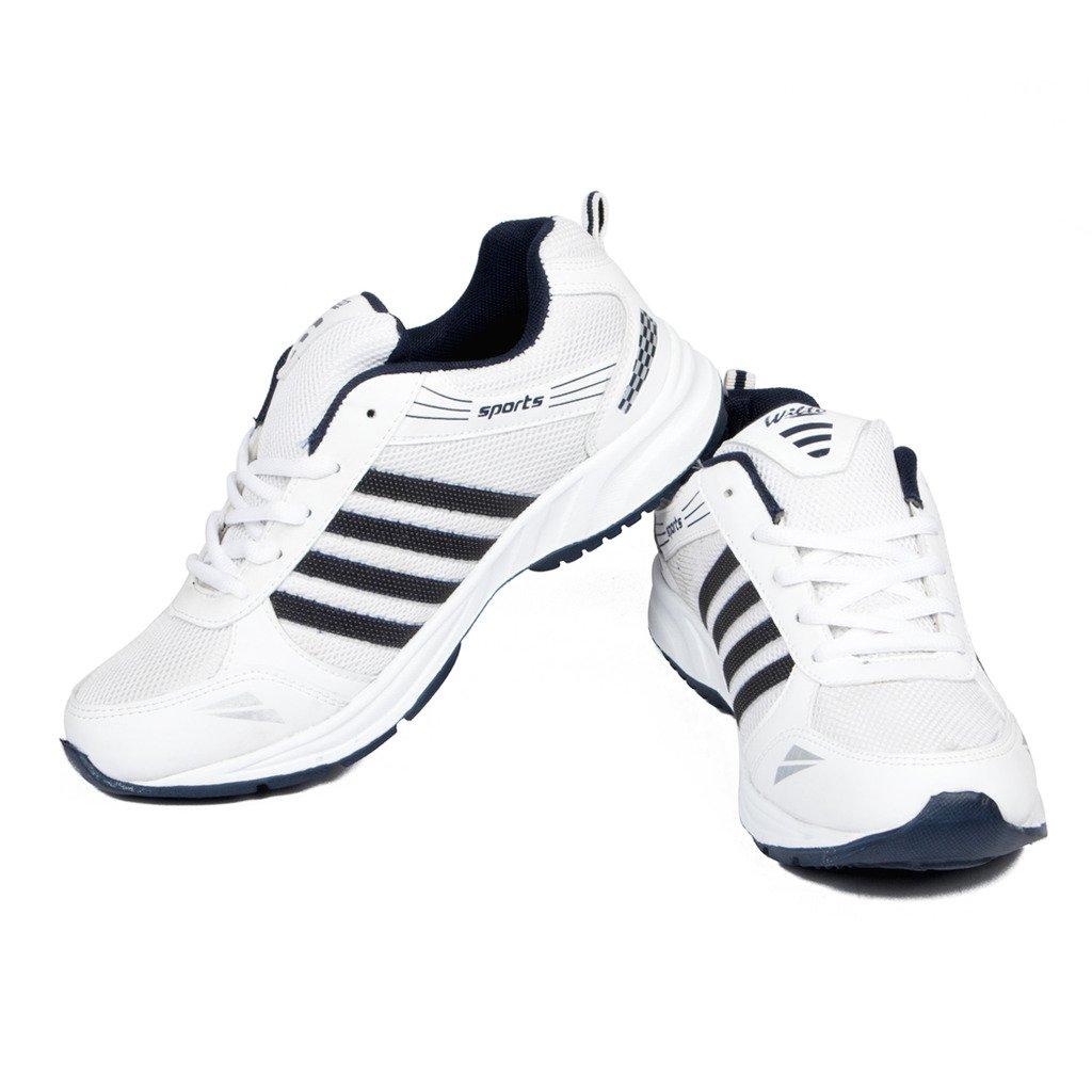 Sports Shoe White Navy Blue Mesh For