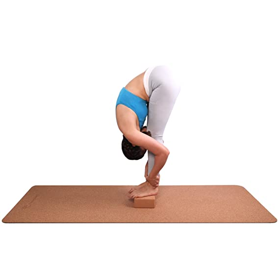 FrenzyBird 5mm Natural Cork Yoga Mat with Oxford Mat Bag and Strap, Double-Sided,Free of PVC, for Yoga,Hot Yoga and Pilates