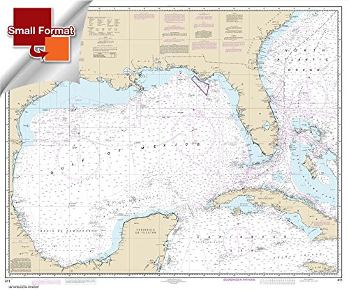 NOAA Chart 411: Gulf of Mexico 21.00 x 25.28 (SMALL FORMAT WATERPROOF) -