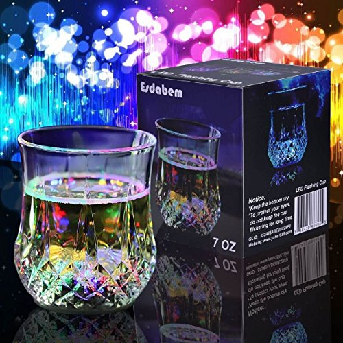 Esdabem LED Automatic Flashing Cup - with Mug Sensor Light Up, Liquid Activated Color Change, Flashing LED Light Cup for Christmas, Party, Night Clubbing, Birthday, Disco (Days 2017 Left Christmas Until)