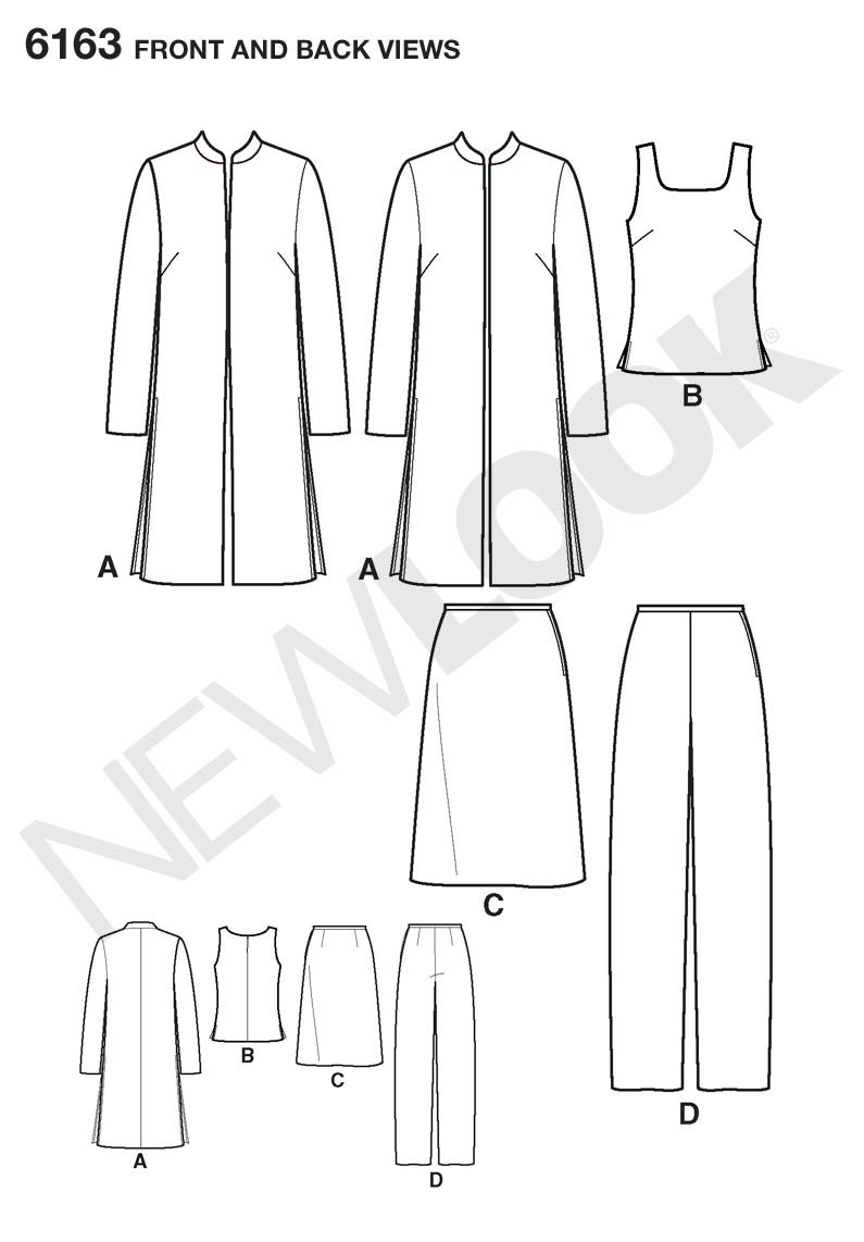Amazon.com: New Look Sewing Pattern 6163 Misses Separates, Size A (8 ...