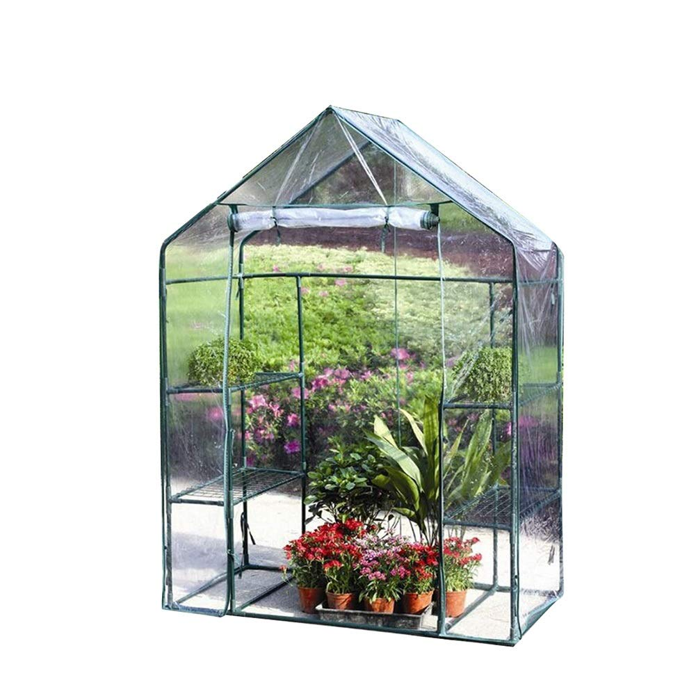 Clear 143x73x195cm Clear 143x73x195cm LIANGLIANG-Greenhouses Gardening Outdoor Balcony Awning Moisturizing Sunscreen Walk-in Plant Greenhouse (color   Clear, Size   143x73x195cm)