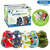 Kids Eye Patches - Fun Boys Design - 60 + 10 Bonus Latex Free Hypoallergenic Cotton Adhesive Bandages For Amblyopia and Cross Eye - 2 Reward Chart Posters - Optho-Patch by Defined Vision