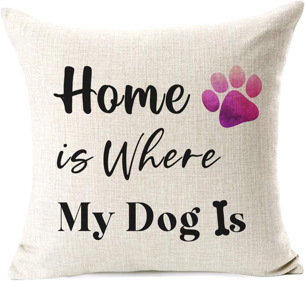 Items Similar to Dog Lovers Pillow Cover Sweet Funny Sayings Home is Where My Dog is. Best Gift for Sofa, Housewarming Gift Pet Lovers