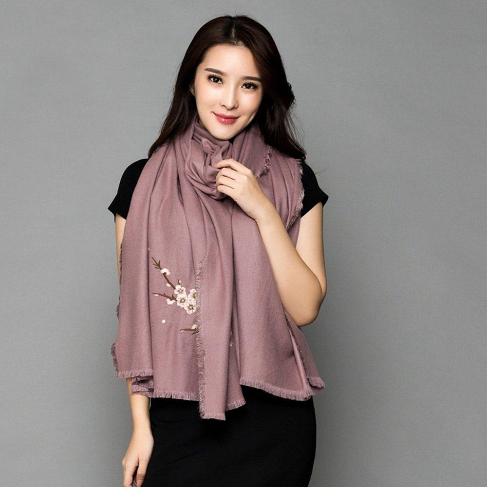 Bufanda HAIZHEN Elegante de moda Chal multifuncional otoño del invierno Chal doble del bordado de la flor del ciruelo del uso Suave y cálido (Color : Rubber powder)