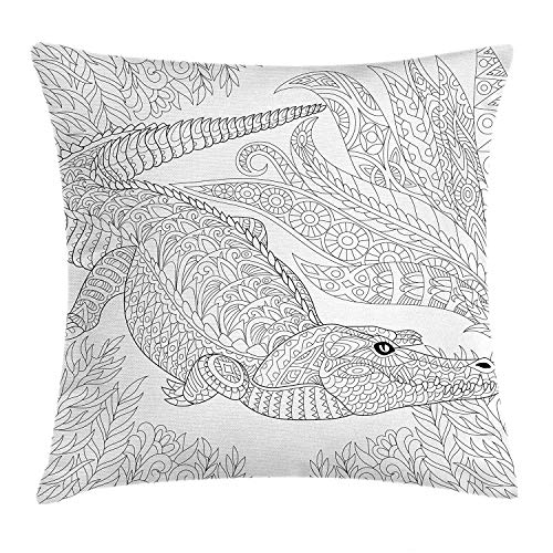 FFR EGM HAQSK CUFD Eco-Friendly Alligator Jungle Concept Reptile Among The Bushes Oriental Linear Hand Drawn Pattern Glamour Fantasy Design Cushion Cover, Black and White 18x18In -