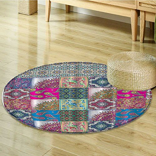 Rug Octagon Elegance (Plaid Circle carpet Classic Geometric Decor by Nalahomeqq Paisley Mandala Medallion Octagon Ikat Diamond Multicolor Colorful Squares Damask Patchwork Theme Fuchsia Purple Teal-Diameter 170cm(67
