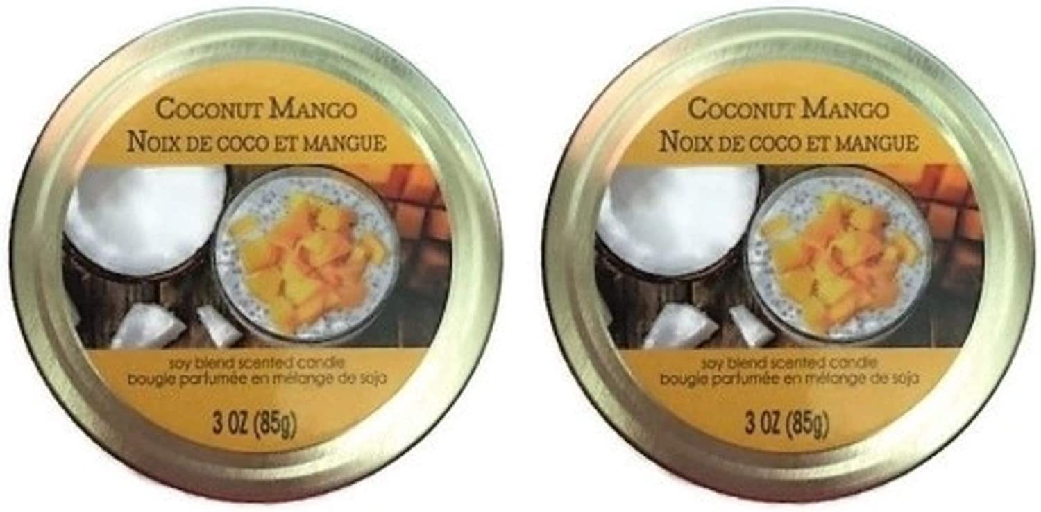 Amazon Com Coconut Mango Tropical Scented Mini Mason Jar Candles 3 Ounces Old Williamsburgh For Home Kitchen Bakery Set Of 2 Home Improvement