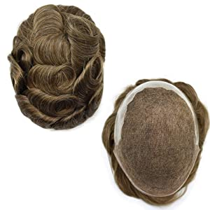 """FACE MIRACLE French Lace Front Mens Toupee Hairpieces Poly Skin PU Natural Hairline Replacement Wig For Men (8""""10"""", 720# 7# VERY LIGHT BROWN+20% SYNTHETIC GREY-120% Medium Light to Medium Density)"""