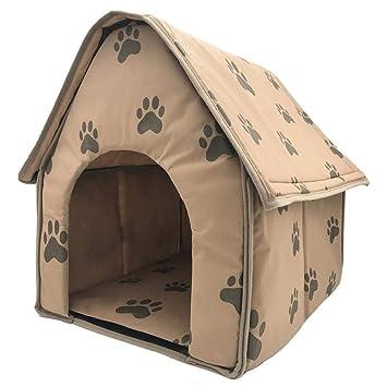TRULIL Casa de Perro Plegable Interior Gato caseta casa Cama pequeña Huella de Felpa Caliente cojín Desmontable portátil pequeño casa Mascota Cama para ...