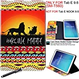 Galaxy Tab E 9.6 Case, Newshine Book Style Leather & Silicone Bumper Flip Folio Stand Cover Built in Card/Cash Slots for Samsung Galaxy Tab E 9.6 2015 [NOT FIT FOR TAB E NOOK 9.6] (3 Lion King)