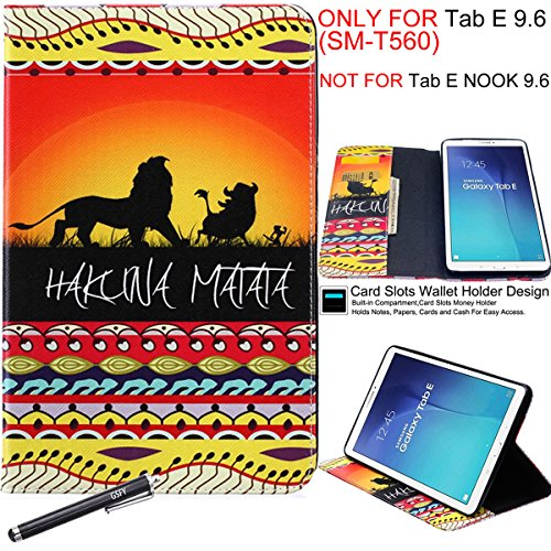 Galaxy Tab E 9.6 Case, Newshine Book Style Leather & Silicone Bumper Flip Folio Stand Cover Built in Card/Cash Slots for Samsung Galaxy Tab E 9.6 2015 [NOT FIT FOR TAB E NOOK 9.6] (3 Lion King) by NewShine