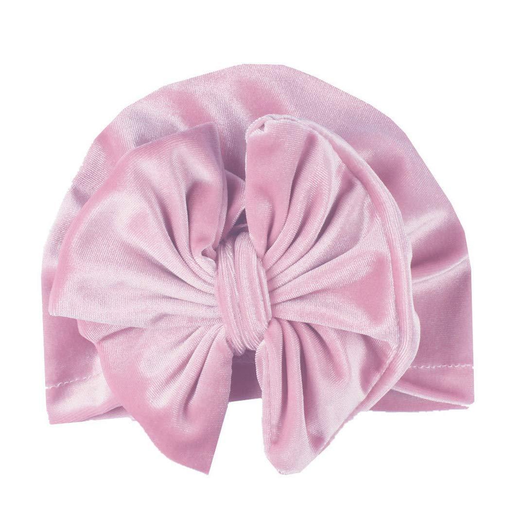 EYIIYE Infant Baby Girl Velvet Turban Hat with Big Bow Toddler Kids Photo Prop