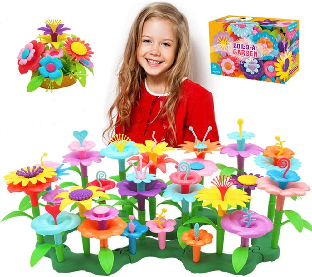 Flower Garden Building Toys, Gardening Pretend Gift for Kids, 46-Pcs Educational Creative Playset Build Bouquet of Educational Activity for Preschool Children Age 3 4 5 6 7 Year Old