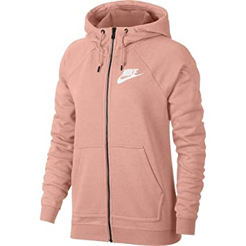 b66384ec39064 Nike NSW Rally W FZ Veste, Femme, Rose Blanc (Storm HTR), XS  Amazon ...