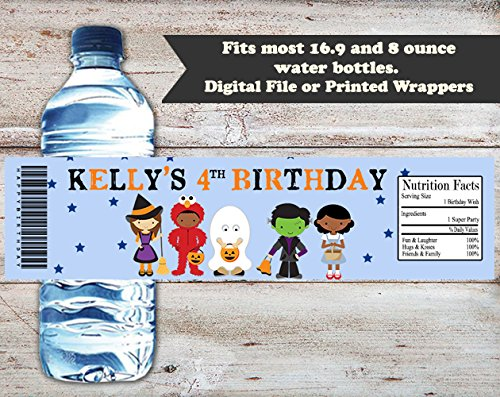 Costume Kids Personalized Halloween or Birthday Water Bottle Wrappers, Set of 10 Party Favors, Water Bottle Labels -
