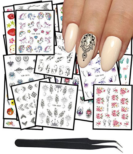 WOKOTO 50Pcs Nail Water Decals Feather Flower Lace Butterfly Cartoon Water Transfer Stickers For Nails Art Design With Nail Tweezers