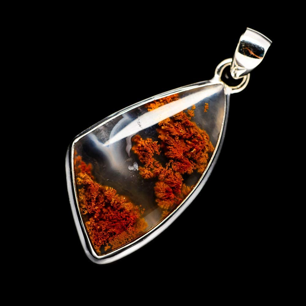 Vintage PD698953 Ana Silver Co Indonesian Plume Agate Pendant 2 925 Sterling Silver Bohemian - Handmade Jewelry