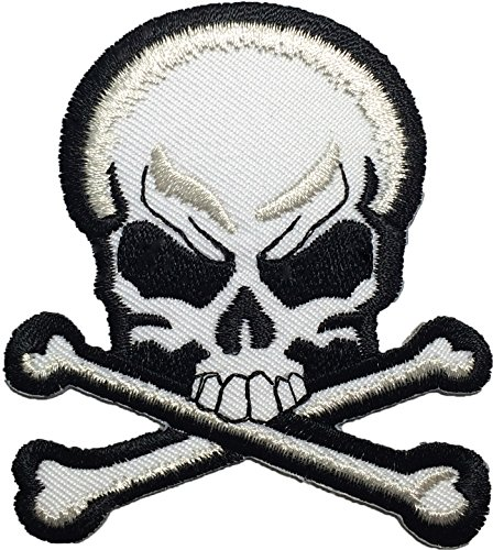Skull Cross Bones Black & White Logo Ghost Skeleton Outlaw Biker Punk Ride Hippie Rock Heavy Metal Motorcycle Jacket Vest Sew Iron on Embroidered Badge Sign Costume