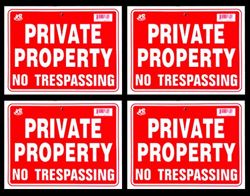Private Property No Trespassing Sign 9 x 12 Inch - 4 (Keep Out Sign)