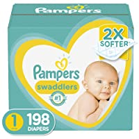 Diapers Newborn/Size 1 (8-14 lb), 198 Count - Pampers Swaddlers Disposable Baby...