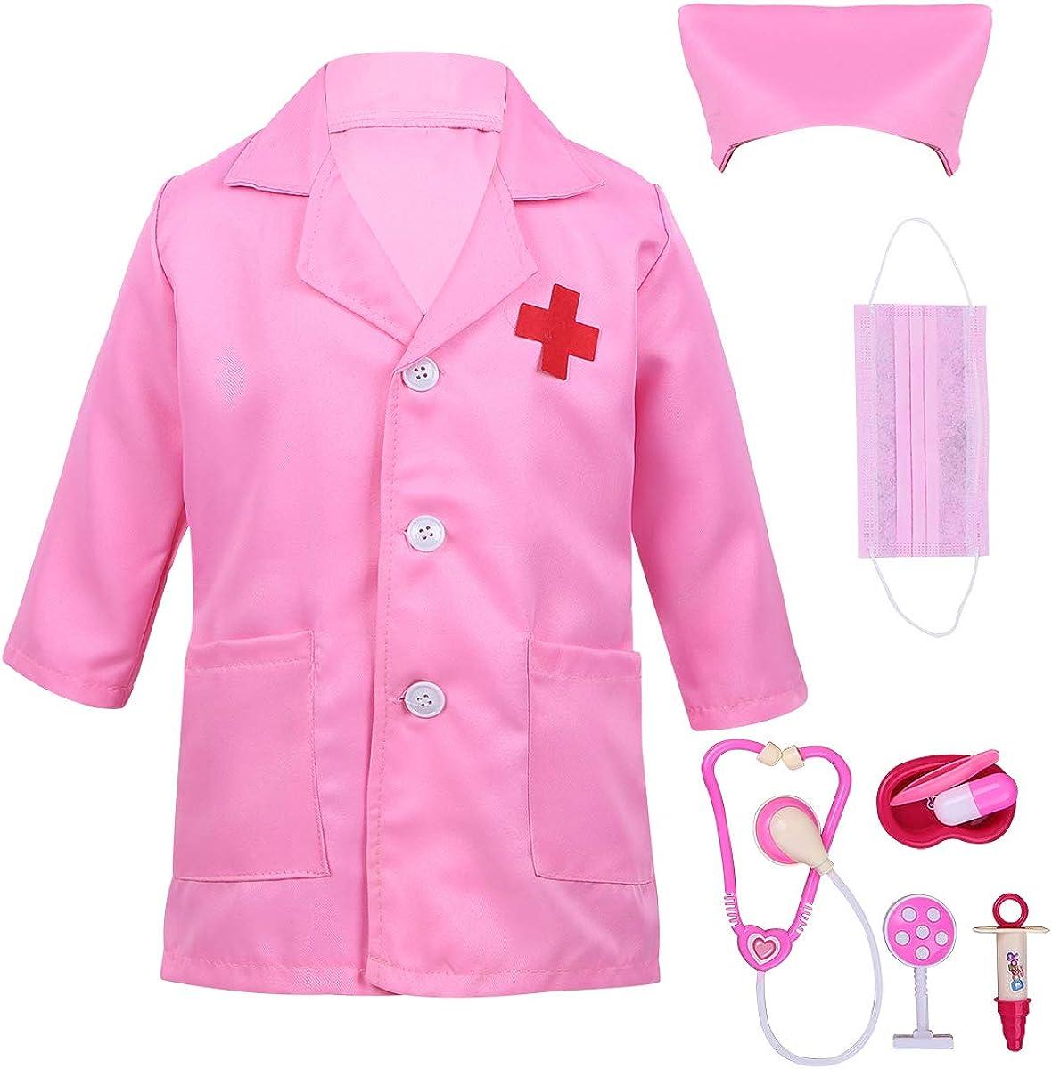TiaoBug Unisexo Bata Blanca/Rosa Manga Larga de Doctor/Enfermera Disfraz Cosplay para Halloween con Accesorios(Estetoscopio+Jeringa etc.)