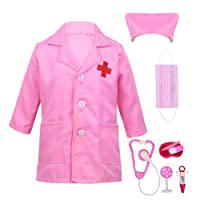 TiaoBug Kids Boys Girls Doctor Surgeon Costume Outfit Halloween Cosplay Party Dress Up 3 Piece Tools Set