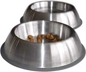 PetFusion Premium Brushed Anti-Tip Dog & Cat Bowls (Set of 2 Bowls). Food Grade Stainless Steel. Bonded Silicone Ring for Traction, 14 oz, Metallic