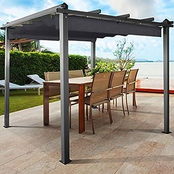 Probacheu0026nbsp;Pergola Aluminium 3 X 3u0026nbsp;Metres Gazebo With Retractable  Roof Grey
