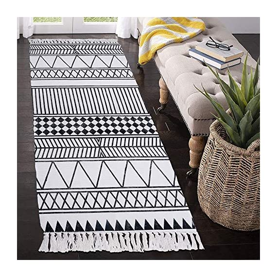 HEBE Cotton Rug Runner 2.3'x6' Washable Woven Tassel Black and White Rugs Cotton Throw Rugs Floor Carpet Mat Bohemian Rug for Living Room Kitchen Laundry - Area Rug Runner Size: Package includes 1 PCS cotton woven tassels runner rug. Cotton runner rug measure size at 2.3 x 6 ft/70*180cm.The size is perfectly suitable for kitchen floor,laundry room,living room,entrance way,doormat or any room you like. Accent Cotton Rug: Woven cotton throw rugs runner well made by Natural Cotton.Cotton material makes excellent water absorption.It's safe for the environment, give soft and breathable touch when people walk on them. Printed Bohemian Cotton Rug Runner: Cotton throw rug designed with geometric patterns and extra snazzy knotted tassels on each side which make them seem chic.Cotton area rug color is black and white that will make it never go out of style and long time stay on the floor. - runner-rugs, entryway-furniture-decor, entryway-laundry-room - 61gZFahcGrL. SS570  -