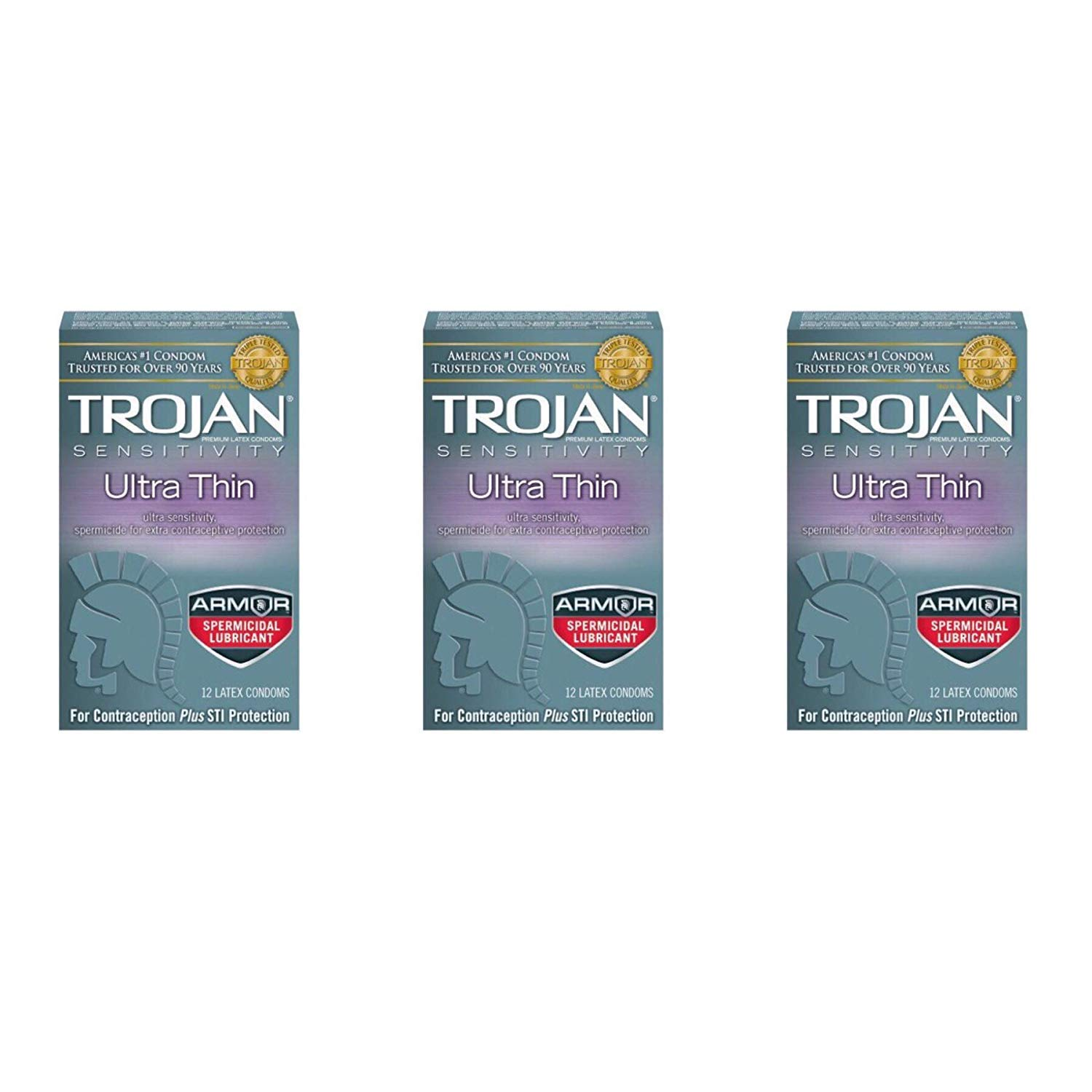 Trojan Ultra Thin Latex Condoms, Spermicidal Lubricant, 12-Count Boxes (Pack of 3) by TROJAN