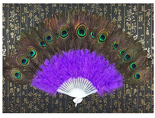 [WCHUANG Belly Dance Accessories Hand Foldable Peacock Feather Fan with Plastic Staves (purple)] (Dance Fans Costumes Accessories)