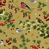 Entertaining with Caspari Continuous Gift Wrapping Paper, Winter Birds Gold, 8-Feet, 1-Roll