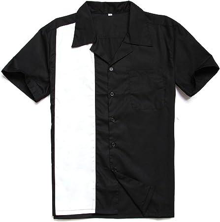 Camisa de Manga Corta de Gran tamaño Floja Blanca y Negra de ...
