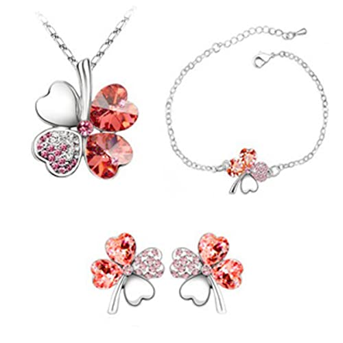 Habors 18K White Gold Plated Red Austrian Crystal Astra Jewelery Set Jewellery Sets at amazon