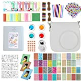 Accessories for Fujifilm Instax Mini 9, 12 in 1 Bundles Set for Mini 9, included Camera Case/Album Book/Close-up Lens/4 Color Filter/3-Inch Photo Frame/Colorful DIY Film Stickers (Smokey White)