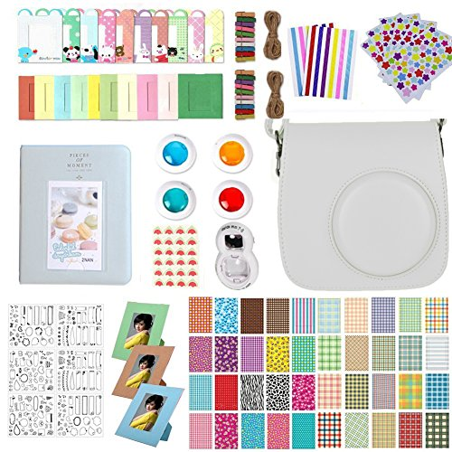 Accessories for Fujifilm Instax Mini 9, 12 in 1 Bundles Set for Mini 9, included Camera Case/Album Book/Close-up Lens/4 Color Filter/3-Inch Photo Frame/Colorful DIY Film Stickers (Smokey White) by MAEKIJOY