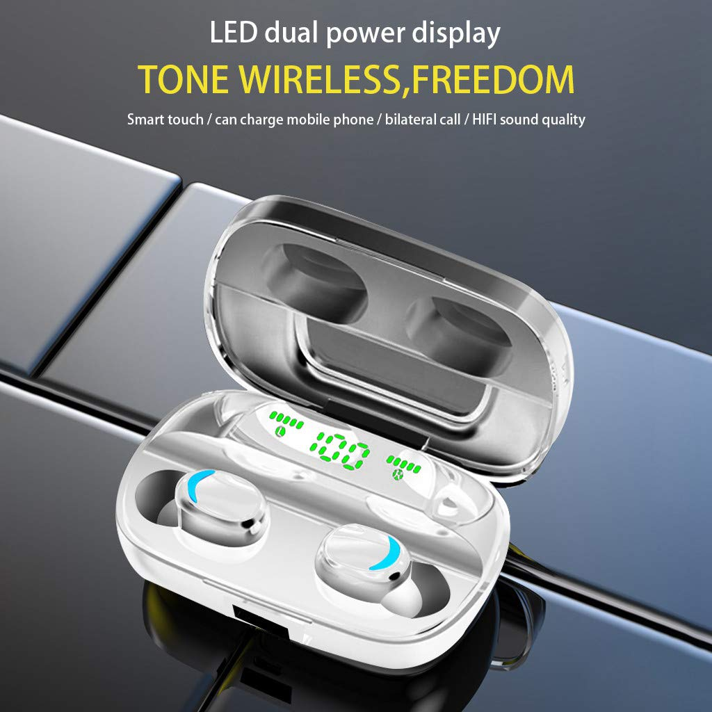 CakeLY True Wireless Earbuds Bluetooth Headphones Touch Control with Wireless Charging Case IPX6 Waterproof TWS Stereo Earphones in-Ear HiFi Stereo for Sport