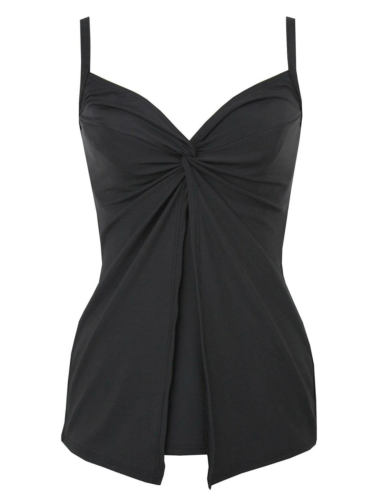 Miraclesuit Women's Miracle Solids Love Knot Underwire Tankini Top Black 16