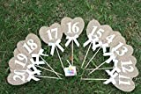 Cheonus Burlap Table Number Cards Rustic Wedding Reception Jute Hessian Ribbon Cards Heart Shape Wedding Numbers Topper Party Bridal Shower Decor Number 11-20