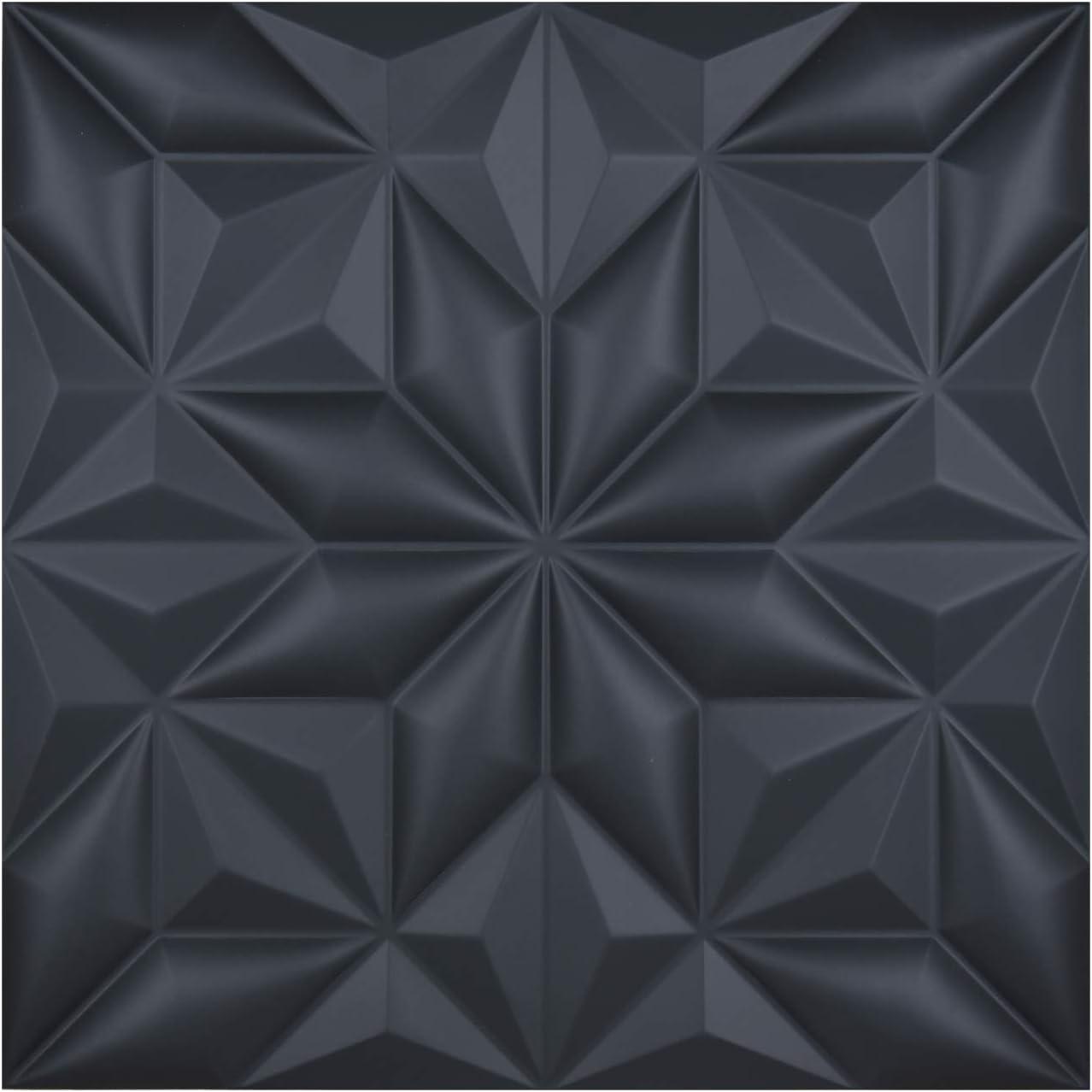"Art3d 3D Leather Tiles Decoartive 3D Wall Panels, Black Pyramid 23.6"" x 23.6"" (6 Pack)"