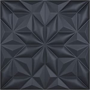 "Art3d 3D Leather Tiles Decoartive 3D Wall Panels, Black Pyramid 23.6"" x 23.6"" (6 Pack)"