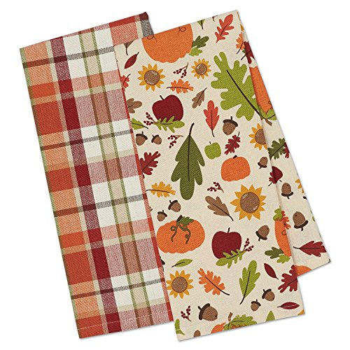 DII Cotton Fall Thanksgiving Holiday Dish Towels, 18x28