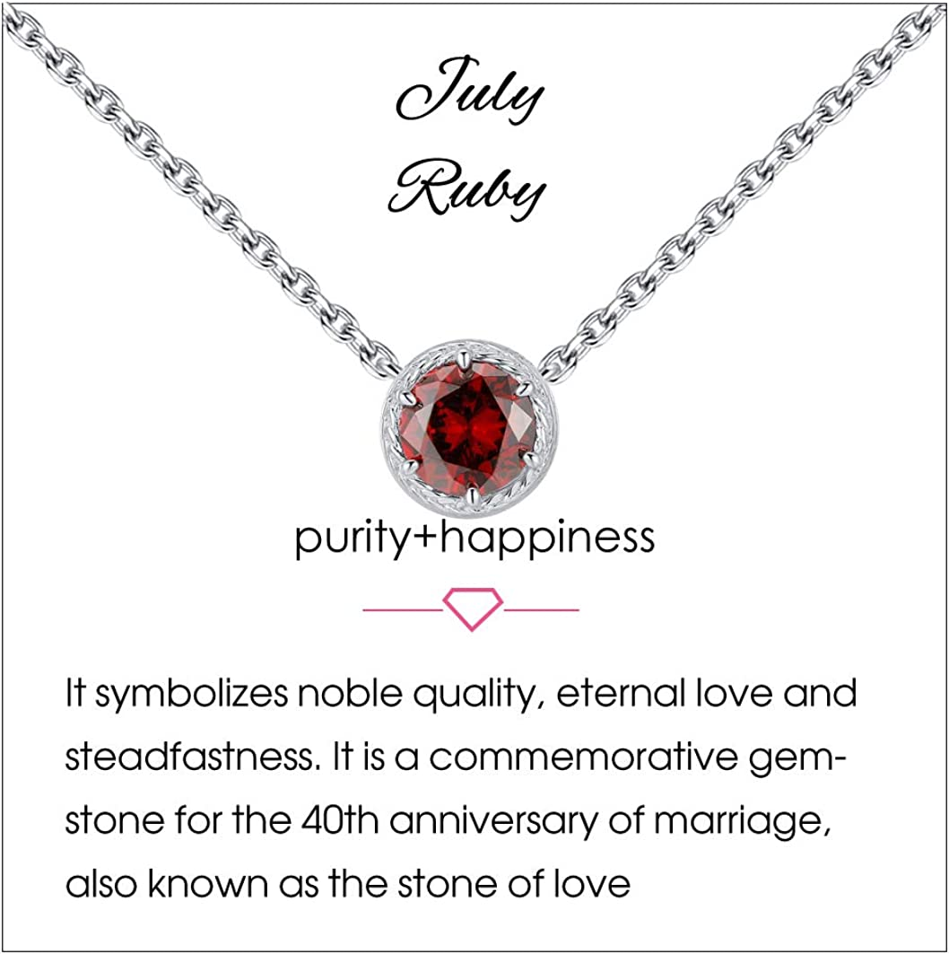 Qings 12 Collar de Piedra de Nacimiento Plata de Ley 925 Collares de Piedra Preciosa Collares Colgante Collares de Mujer para Mujer Cumpleaños