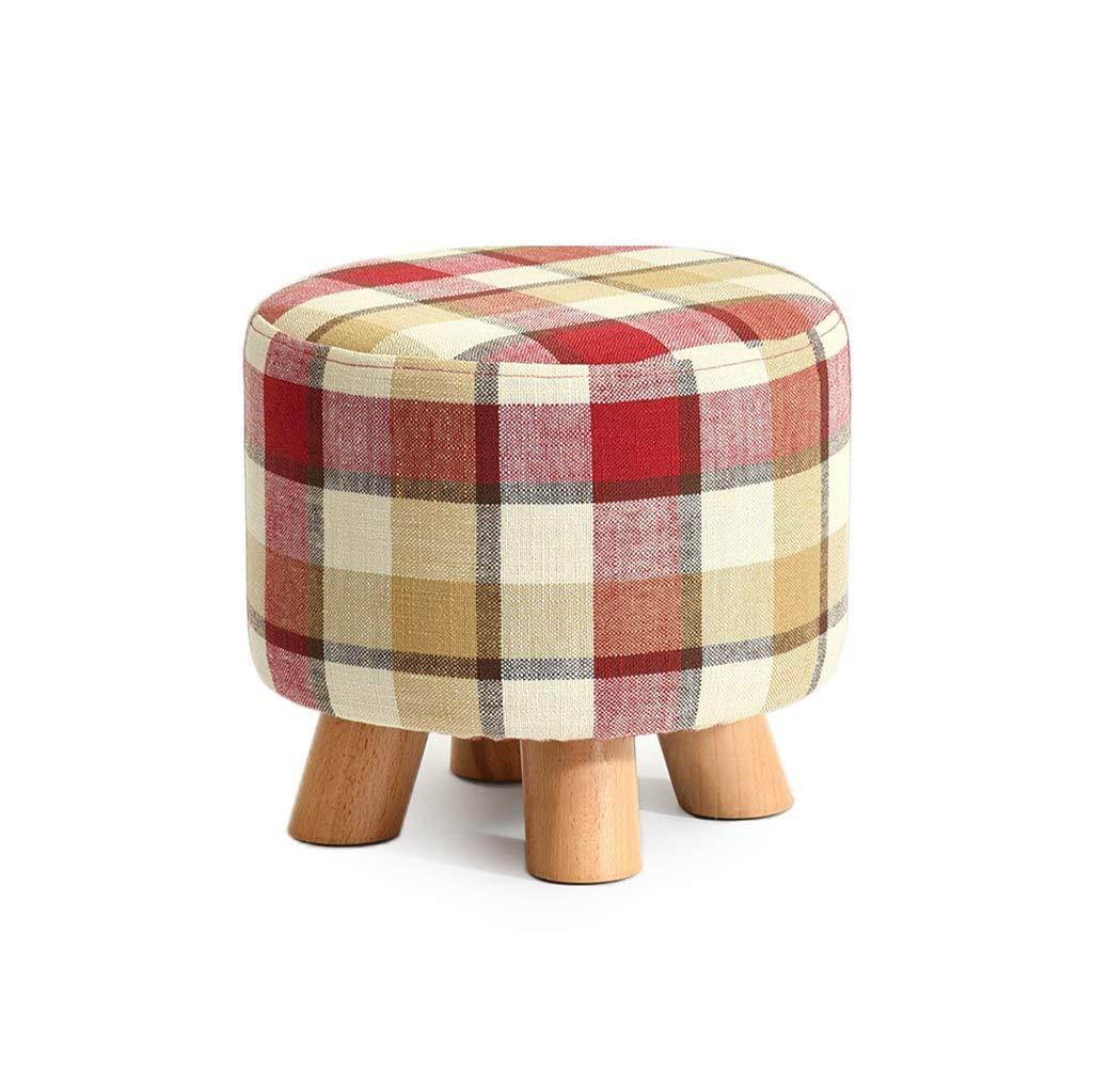 Petit tabouret Canapé repose-pieds en bois pour enfants Tissu créatif 4 pattes rondes (Couleur    2) (Couleuré    2, Taille   -)